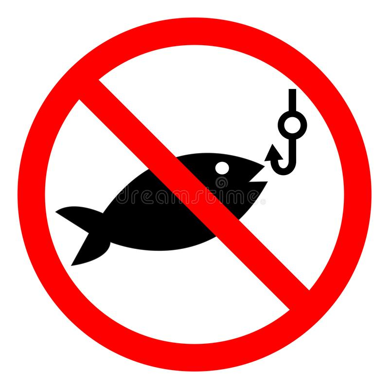 No Fishing Symbol Sign Isolate On White Background,Vector Illustration EPS.10 stock illustration