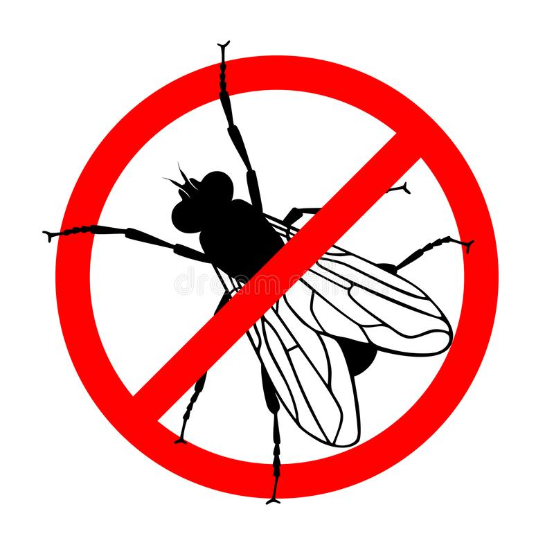 No flies. Prohibition sign. Sign no flies, insect pest, prohibition sign. Symbol for informational and institutional sanitation and related care. Vector royalty free illustration