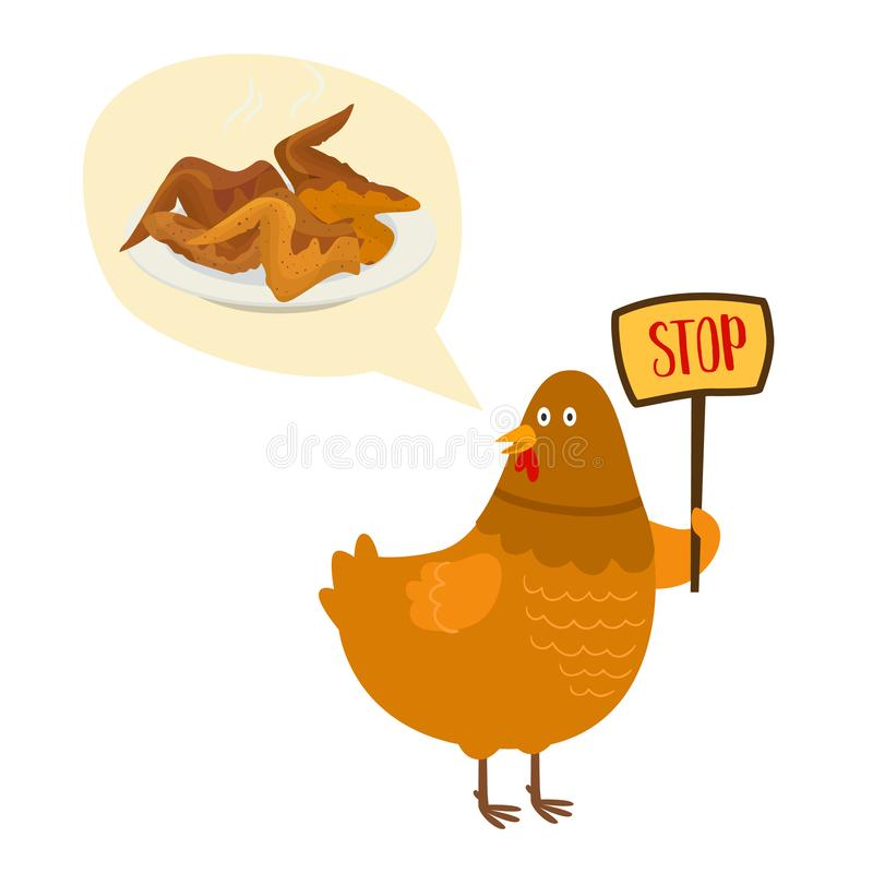No food with chicken fries and roasted vector illustration prohibition sign. Cartoon chicken with placard saying no. Chickens strike for vegans posters or web royalty free illustration
