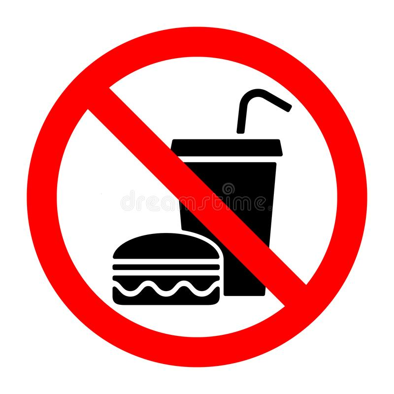No food stop eat or drink prohibition sign. Vector illustration stock illustration