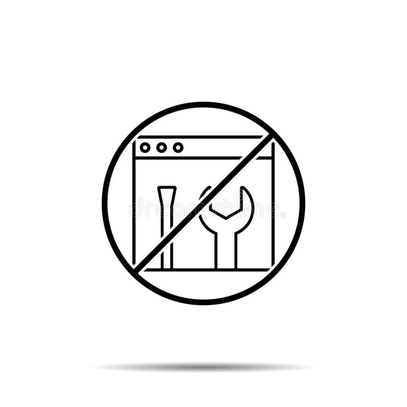 No frontend, seo, backend icon. Simple thin line, outline vector of web design development ban, prohibition, embargo, forbiddance. Icons for ui and ux, website stock illustration