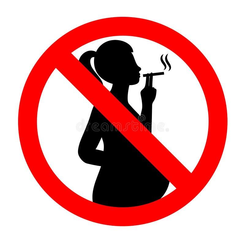 No fume durante embarazo Vector de no fumadores stock de ilustración