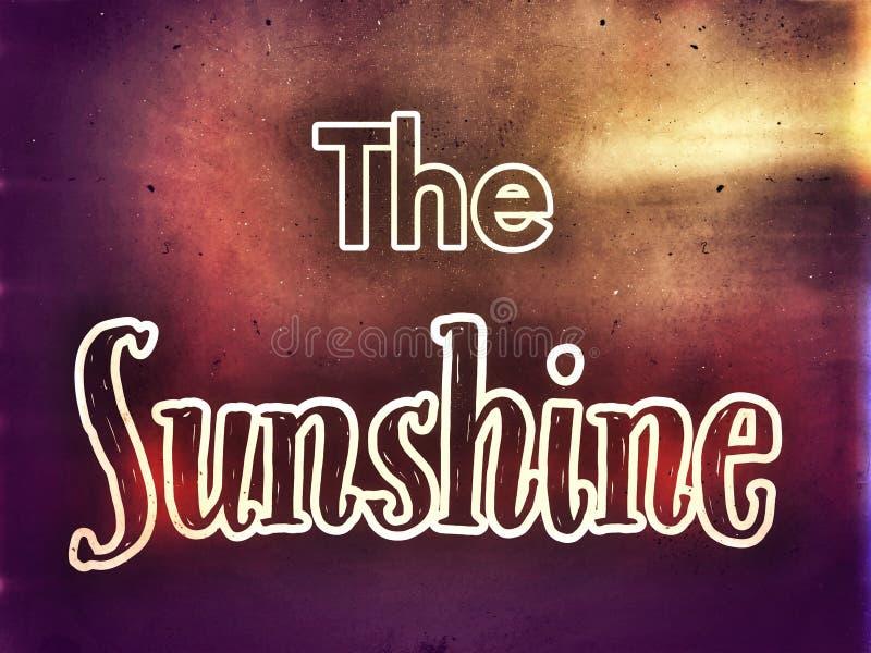 No fundo bonito a luz do sol do título nas fontes brancas ilustração stock