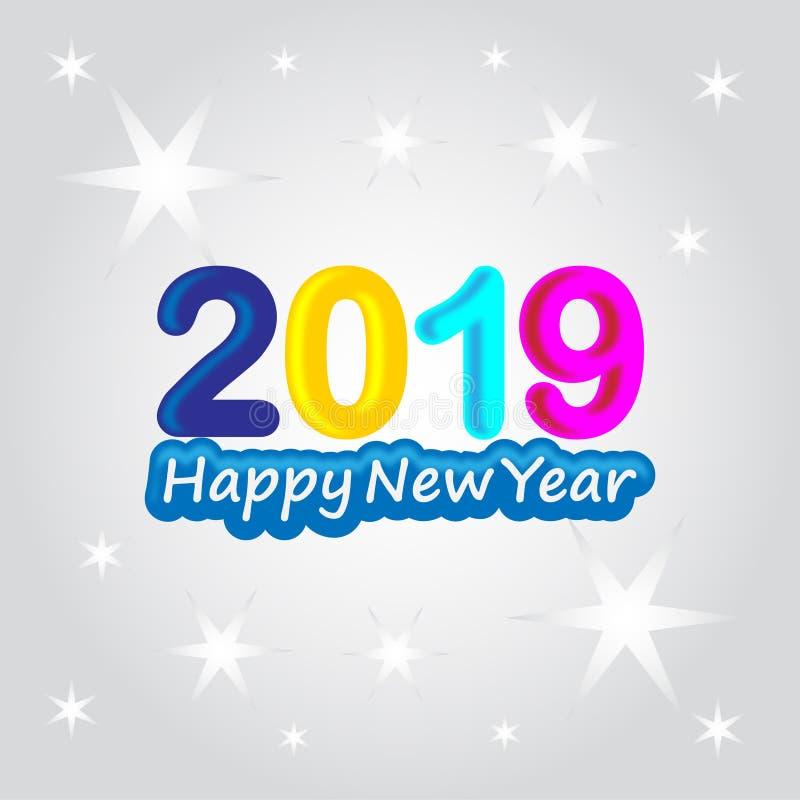 2019 no fundo branco, ano novo 2019, 3D ilustração, ano novo feliz 2019 ilustração do vetor