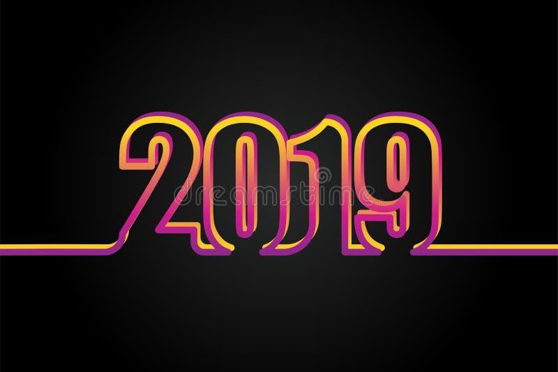 2019 no fundo preto, ano novo feliz 2019 ilustração do vetor