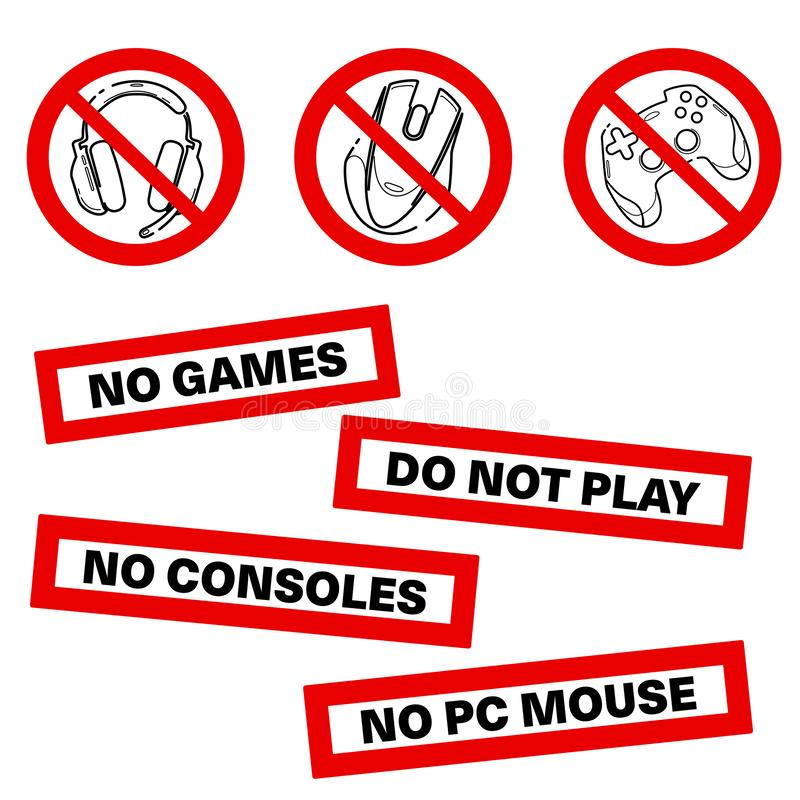 No games set icon. Forbidden gamepad icon. Prohibited gaming icon set, line sign design. Do not play games. Stickers. Line concept royalty free illustration