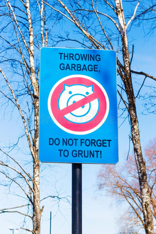 No Garbage Sign with a picture of pig royalty free stock photos