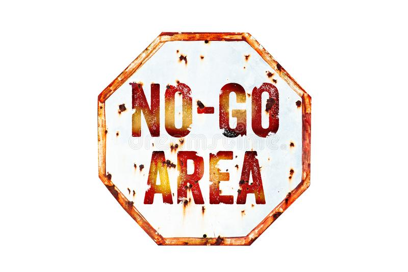 """""""No-Go Area"""" warning sign over grungy white and red old rusty road traffic sign texture background. stock photo"""