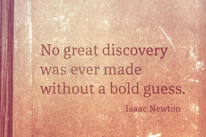 Bold guess Newton. No great discovery was ever made without a bold guess - famous English physicist and mathematician Sir Isaac Newton quote printed on vintage vector illustration