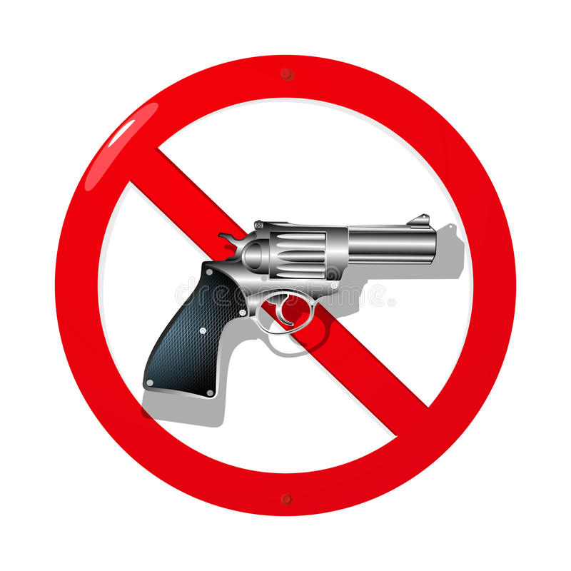 No guns. Weapon restriction sign in 3D. Isolated and grouped objects over white background vector illustration