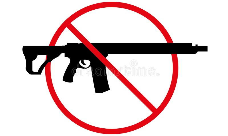 No guns allowed sign No weapon allowed symbol. No guns allowed sign, abstract art illustration no weapon allowed symbol stock illustration