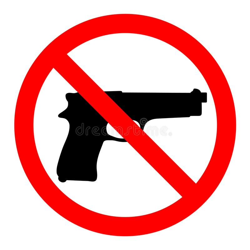 No guns, no weapons, prohibition sign on white background stock images