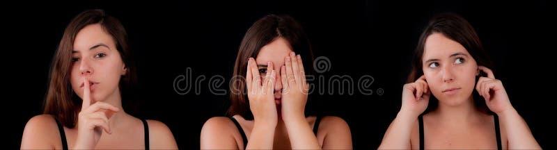No hable ningún mal, no vea ningún mal, no oiga ningún mal imagen de archivo