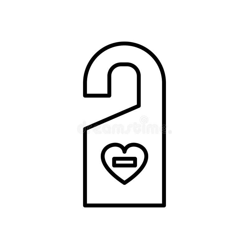 No hace el disturbe, línea icono, muestra, ejemplo del vector del amor en el fondo, movimientos editable stock de ilustración