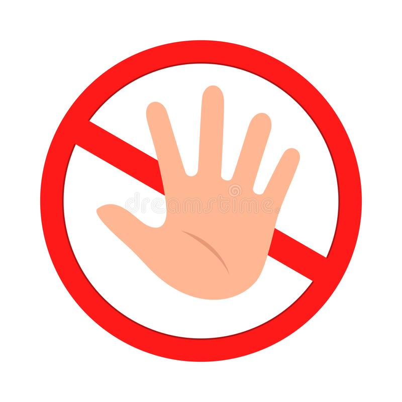 Free No Hand Allowed. Do Not Touch Sign. Vector Illustration Royalty Free Stock Photography - 166443577