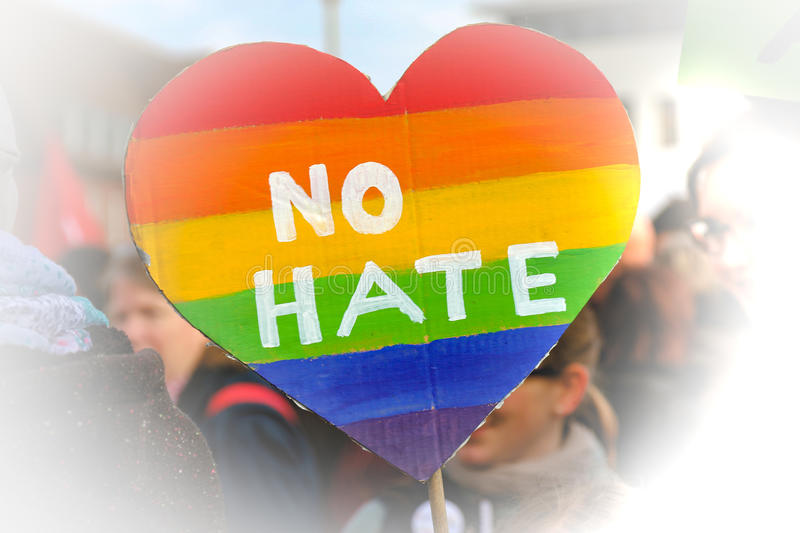 Heart no hate. No hate heart politics demonstration stock image