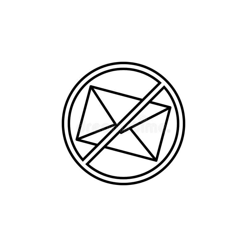 No hay spam, letra, icono de prohibición Elemento del icono de línea de concentración ilustración del vector