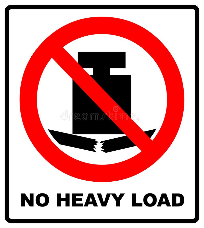 No heavy load, do not place heavy objects on surface, prohibition sign, illustration. Prohibition service symbol. Forbidden warning banner royalty free illustration