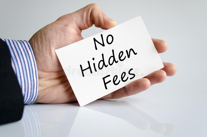 No hidden fees text concept. Isolated over white background royalty free stock photography