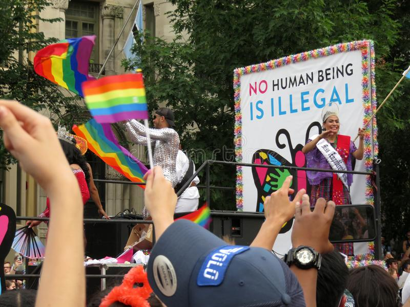 No Human Being is Illegal. Photo of float with a message of tolerance for immigrants at the capital pride parade in washington dc on 6/8/19. This parade takes stock photo