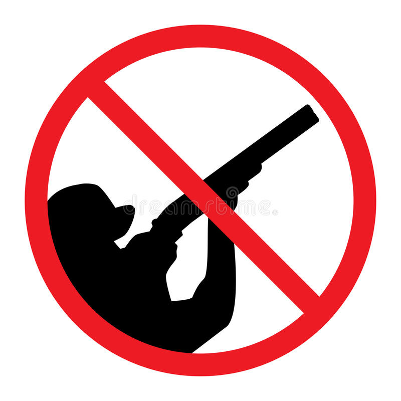 No Hunting Sign. Hunter crossed out with red line stock illustration