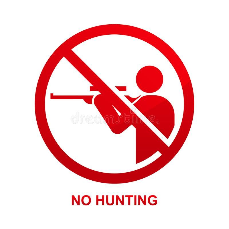Free No Hunting Sign Isolated On White Background Stock Image - 181744841