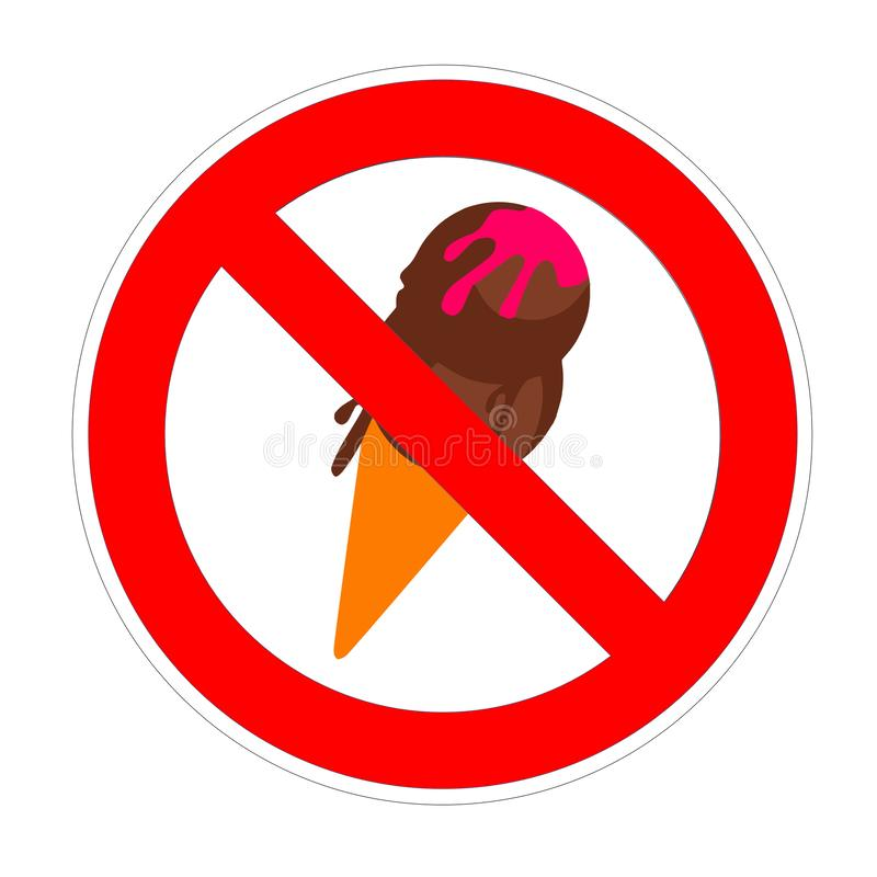 No icecream ice cream forbidden sign, red prohibition symbol vector illustration