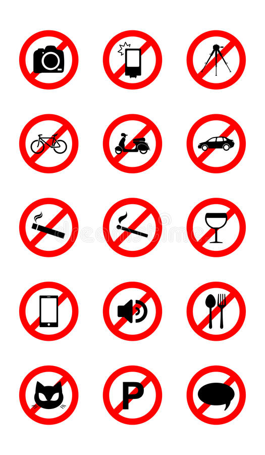 No icons. Set of 15 icons (signs) for various restrictions isolated on white background royalty free illustration
