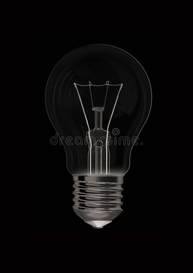 No idea. Off light bulbs on a black background, which illustrates the lack of light, ideas, or electricity royalty free stock photography