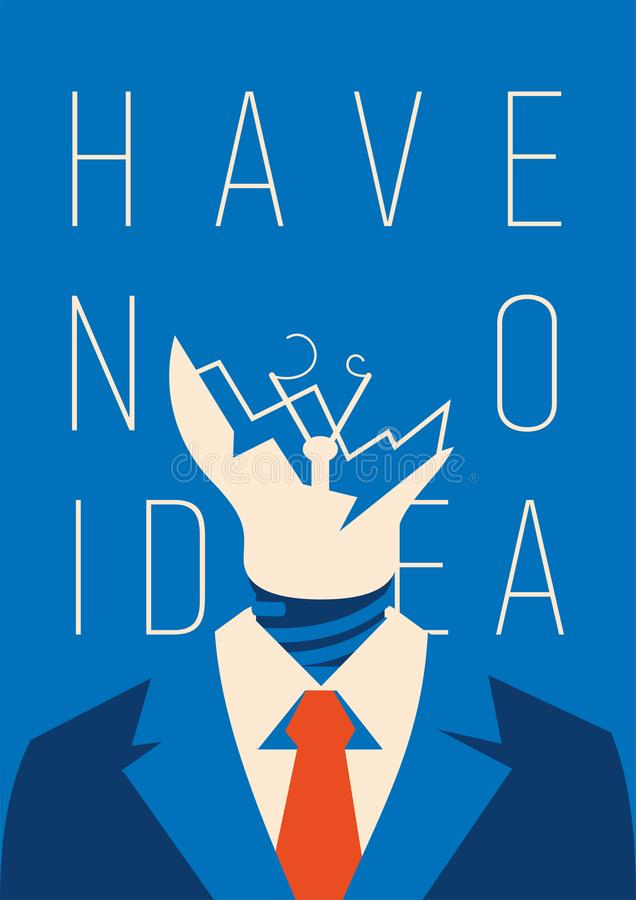 No idea concept. Business thinking, with chapped bulb instead head. No idea concept poster. Business thinking, with chapped bulb instead head. Flat vector vector illustration