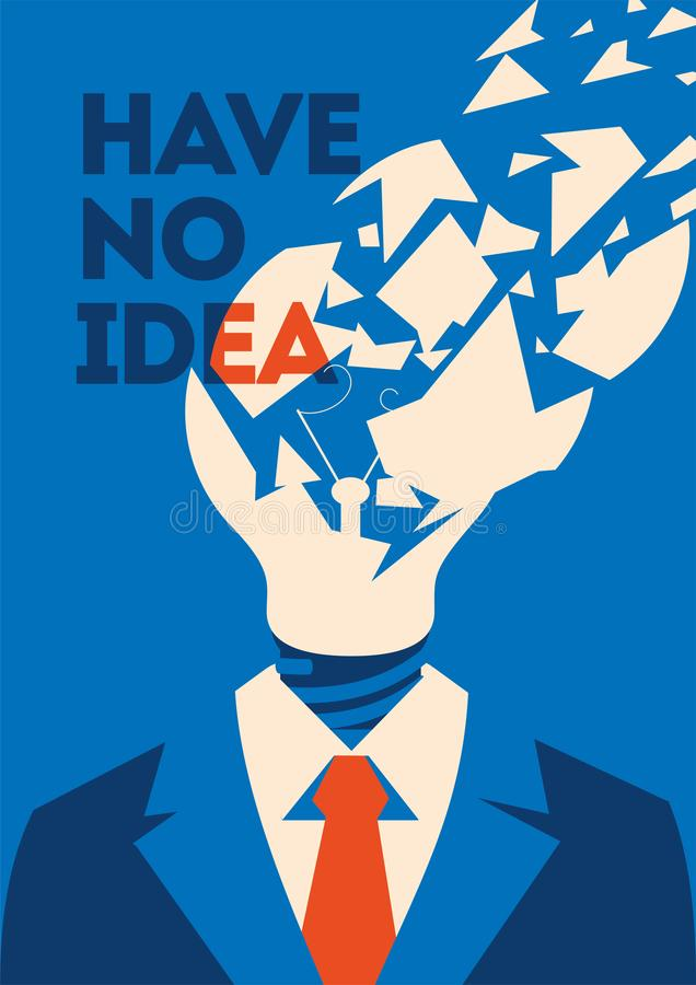 No idea concept. Business thinking, with chapped bulb instead head. No idea concept poster. Business thinking, with chapped bulb instead head. Flat vector stock illustration