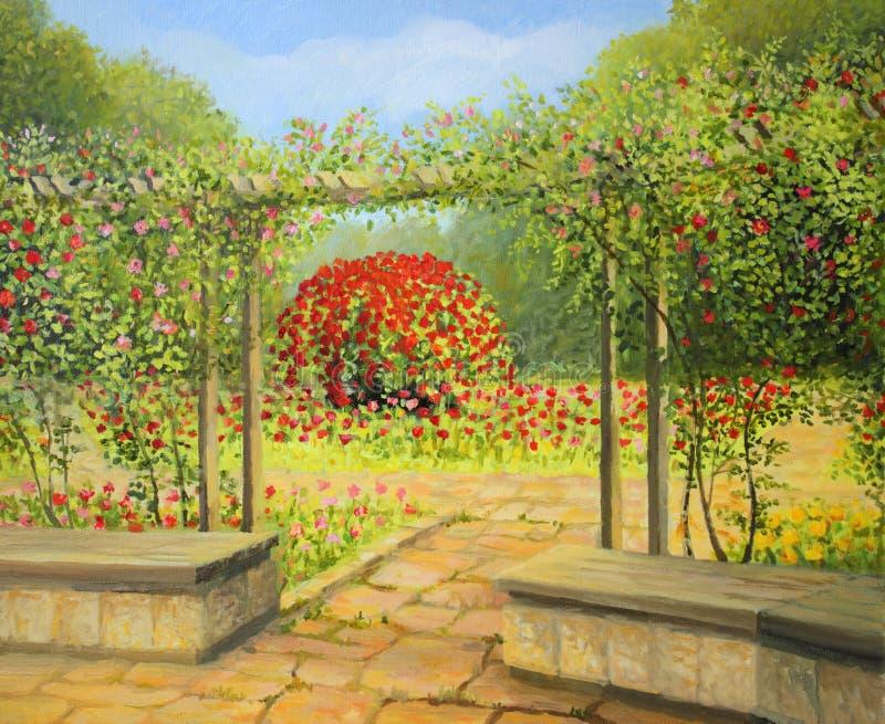 No jardim de rosas imagem de stock royalty free