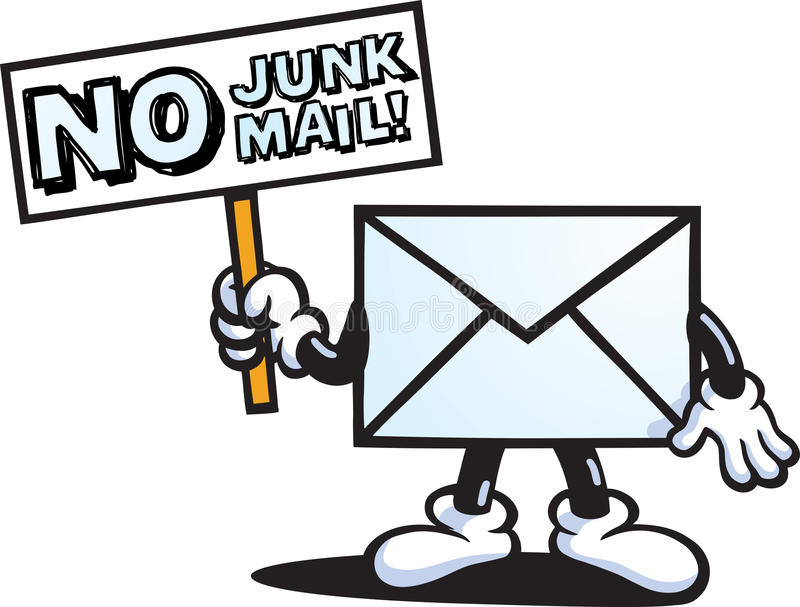 No Junk Mail character stock illustration