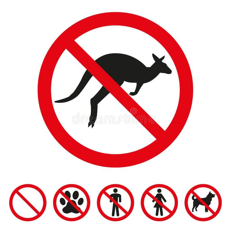 No kangaroo sign on white background stock illustration