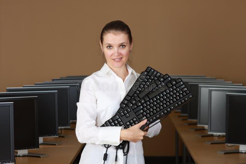 No laboratório do computador imagem de stock royalty free