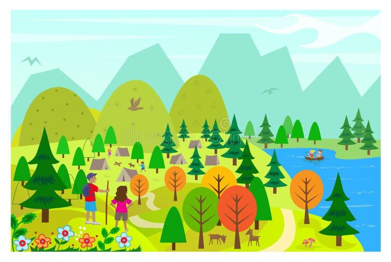 No lago ilustração royalty free