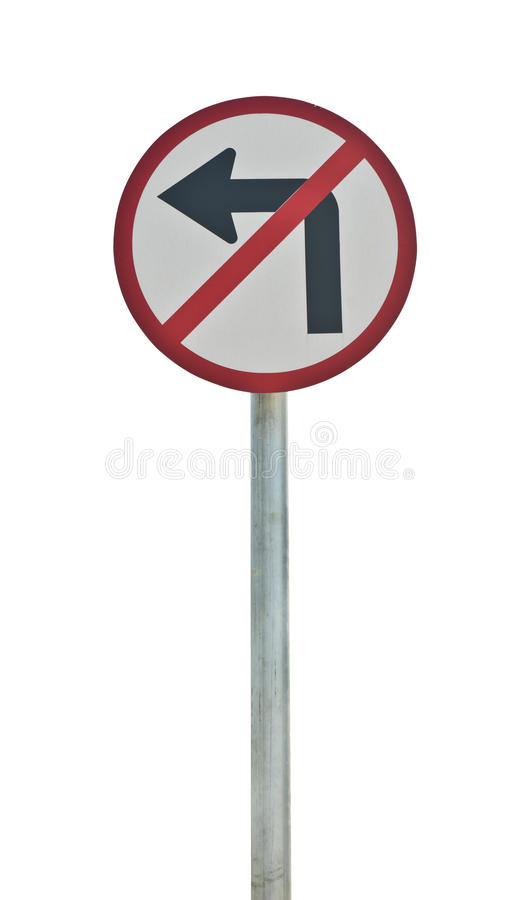 No left turn road sign royalty free stock photos