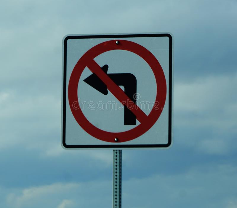 No left turn sign royalty free stock photography