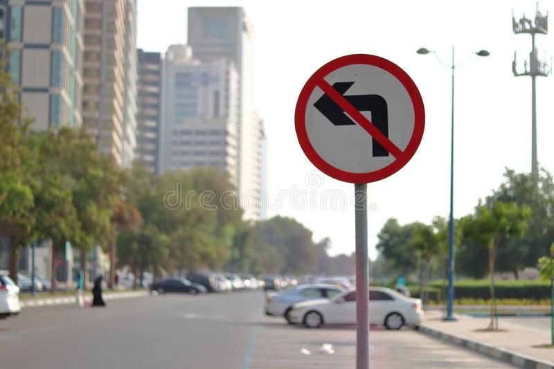 NO LEFT TURN - TRAFFIC SIGN BOARD royalty free stock image