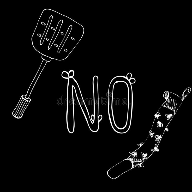 No. Letter with wings on a black background. Prohibition lettering about nasty flies overhead. Fly paper or tape and swatter. royalty free illustration