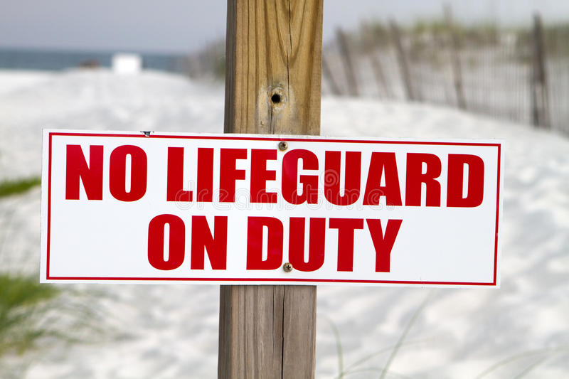 No Lifeguard On Duty stock photography