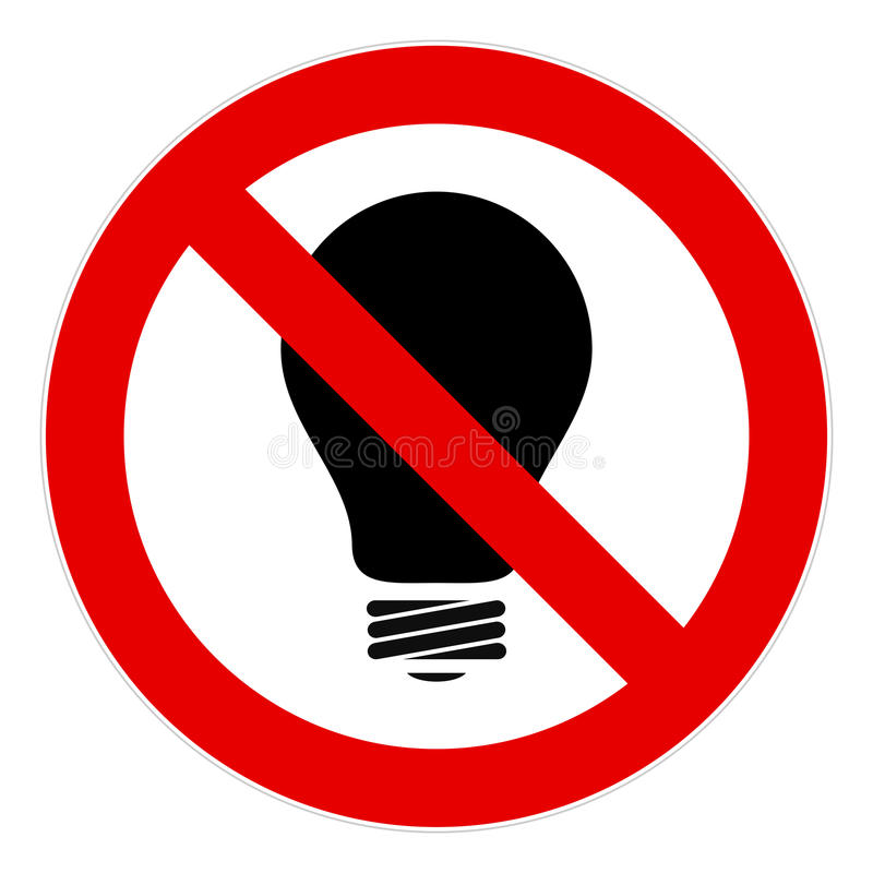 No light bulb sign. Sign calls to abandon the use of incandescent lamps stock illustration