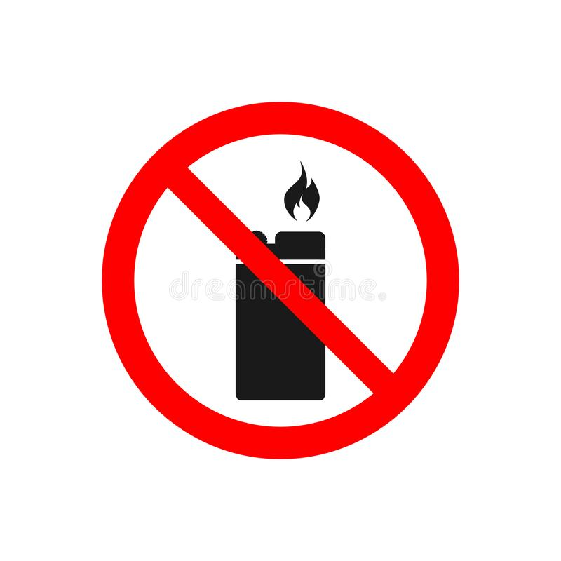 No lighter vector icon Ban fire source  for prohibited concept for your web site design, logo, app, UI. illustration.  stock illustration