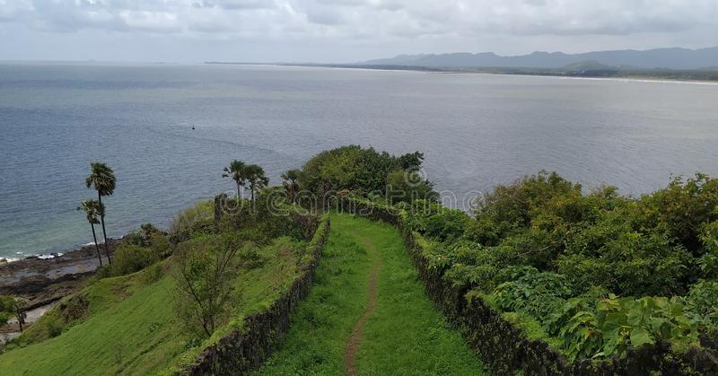 No limits for dreaming. Sea view from top. Ancient fort in Maharashtra. royalty free stock photos