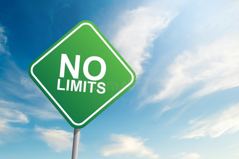 No limits road sign with blue sky and cloud backgound royalty free stock photo