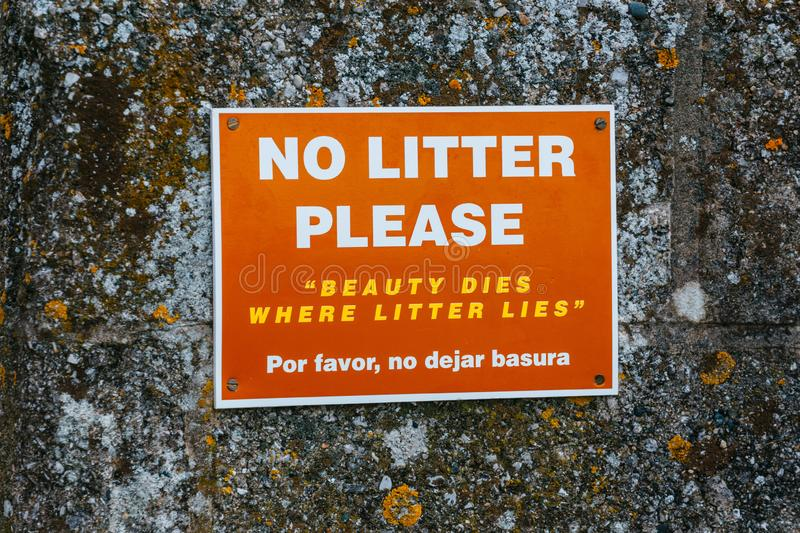 No littering in public places sign stock photos