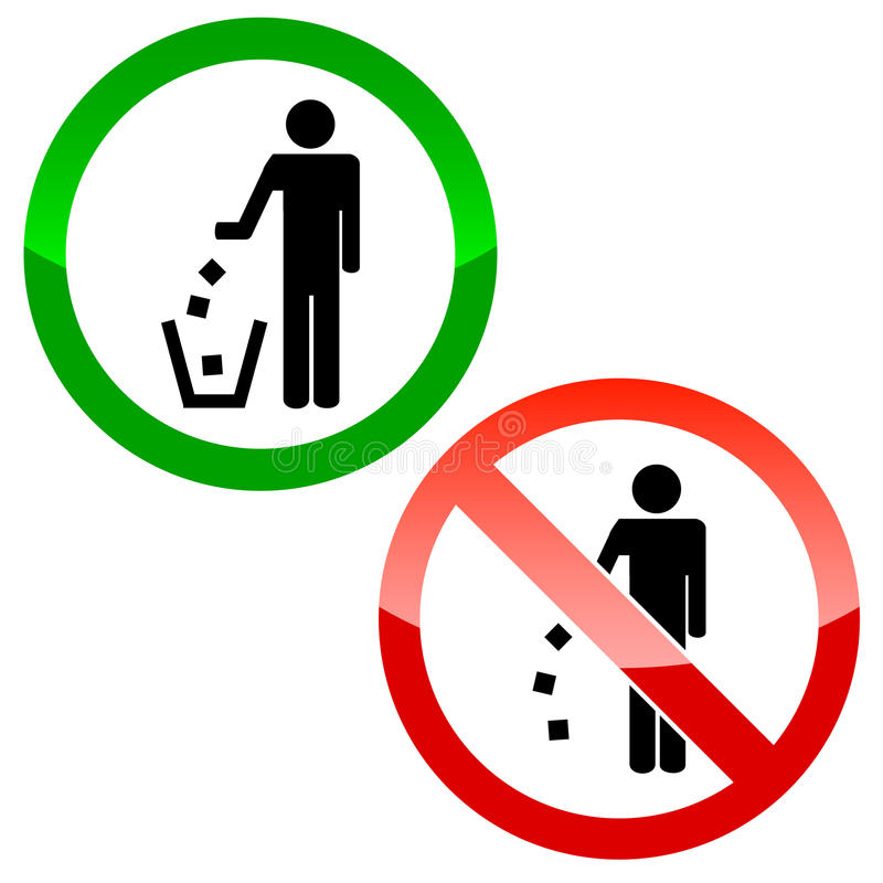 No littering triangle signs stock illustration