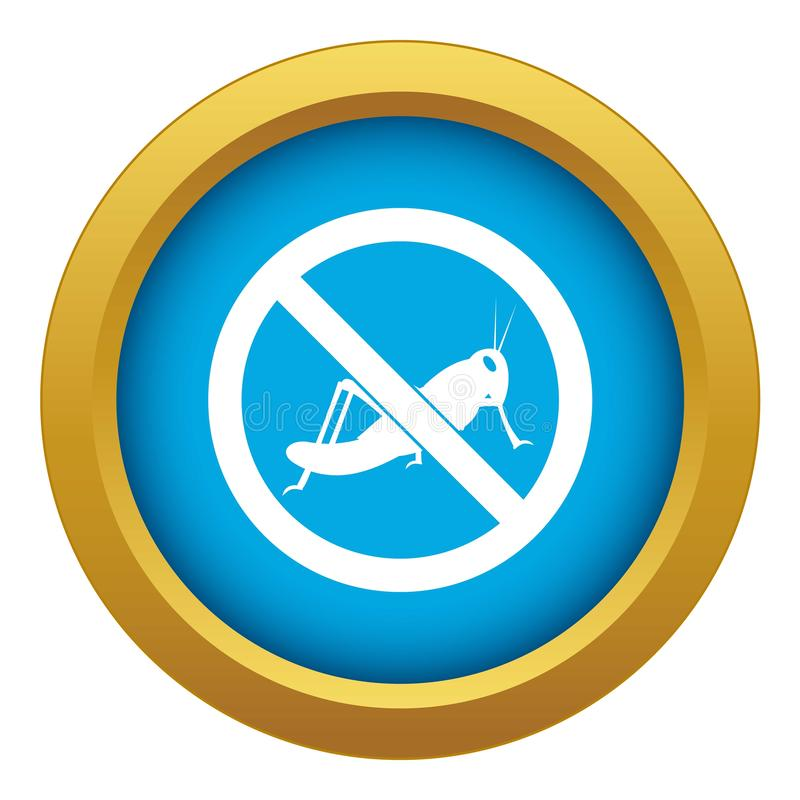 No locust sign icon blue vector isolated stock illustration