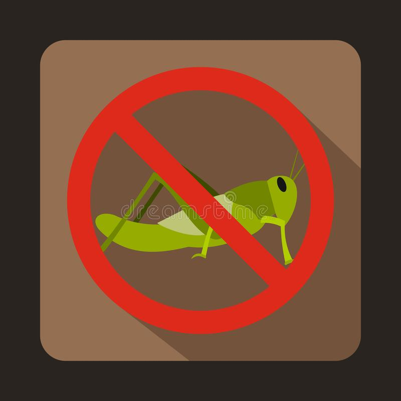 No locust sign icon, flat style. No locust sign icon in flat style on a brown background stock illustration