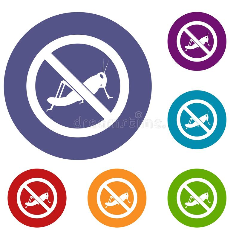 No locust sign icons set vector illustration
